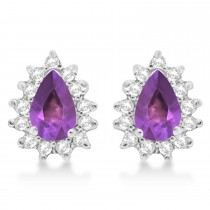 Amethyst & Diamond Teardrop Earrings 14k White Gold (1.10ctw)
