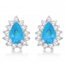 Blue Topaz & Diamond Teardrop Earrings 14k White Gold (1.10ctw)