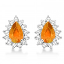 Citrine & Diamond Teardrop Earrings 14k White Gold (1.10ctw)