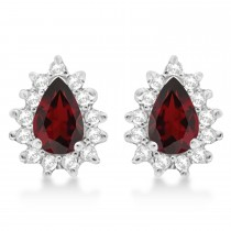 Garnet & Diamond Teardrop Earrings 14k White Gold (1.10ctw)