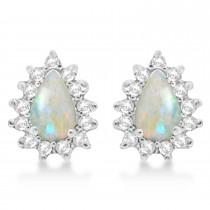 Opal & Diamond Teardrop Earrings 14k White Gold (1.10ctw)
