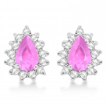 Pink Sapphire & Diamond Teardrop Earrings 14k White Gold (1.10ctw)