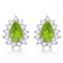 Peridot & Diamond Teardrop Earrings 14k White Gold (1.10ctw)