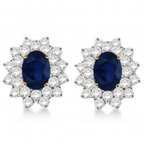 Diamond & Oval Cut Blue Sapphire Earrings 14k Yellow Gold (3.00ctw)