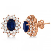 Diamond & Oval Cut Blue Sapphire Earrings 14k Rose Gold (3.00ctw)