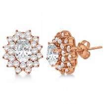 Diamond & Oval Cut Moissanite Earrings 14k Rose Gold (3.00ctw)