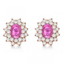 Diamond & Oval Cut Pink Sapphire Earrings 14k Rose Gold (3.00ctw)
