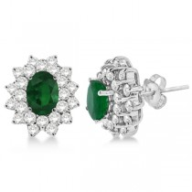 Diamond & Oval Cut Emerald Earrings 14k White Gold (3.00ctw)
