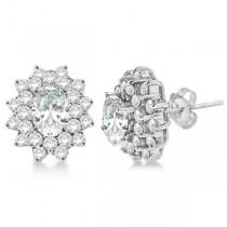 Diamond & Oval Cut Moissanite Earrings 14k White Gold (3.00ctw)
