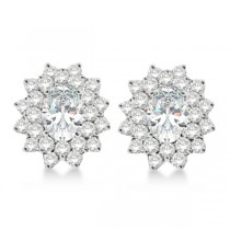 Diamond & Oval Cut Moissanite Earrings 14k White Gold (3.00ctw)