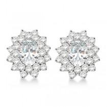 Diamond & Oval Cut Moissanite Earrings 14k White Gold (3.00ctw)|escape