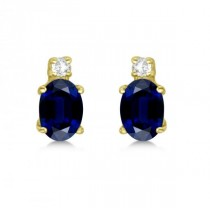 Oval Blue Sapphire Stud Earrings with Diamonds 14k Yellow Gold 0.43ct
