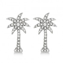 Palm Tree Shaped Diamond Earrings 14k White Gold (0.25ct)