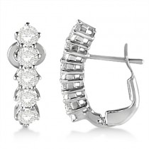 Five Stone Diamond Omega Earrings 14k White Gold (1.00ct)