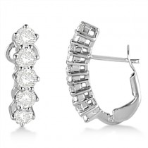 Five Stone Diamond Omega Earrings 14k White Gold (1.50ct)
