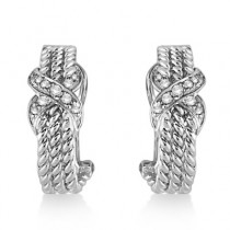 Twisted Knot Omega Diamond Huggie Earrings 14k White Gold (0.20ct)|escape