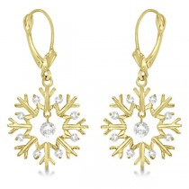 Snowflake Shaped Dangle Drop Diamond Earrings 14K Yellow Gold (0.30ct)