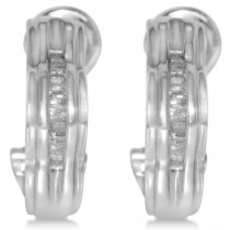 Diamond Accented Curved Baguette Earrings in 14k White Gold (0.33ct)