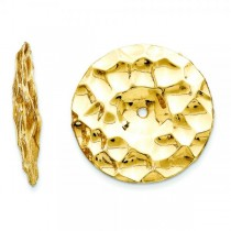 Hammered Disc Earring Jackets in Plain Metal 14k Yellow Gold
