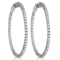 Prong-Set Diamond Hoop Earrings in 14k White Gold (3.00ct)|escape