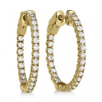 Prong-Set Diamond Hoop Earrings in 14k Yellow Gold (1.00ct)