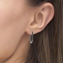 Prong-Set Black Diamond Hoop Earrings in 14k White Gold (1.00ct)