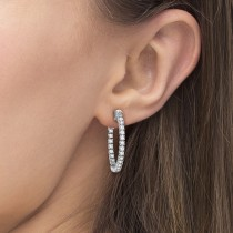 Prong-Set Diamond Hoop Earrings in 14k White Gold (1.00ct)|escape