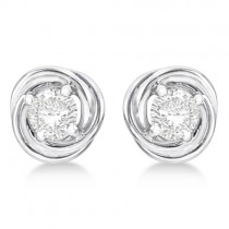 Diamond Love Knot Stud Earrings 14k White Gold (0.50ct)|escape