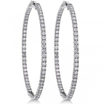Pave-Set Diamond Hoop Earrings 14k White Gold (6.25ct)
