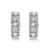 Round & Princess Cut Diamond Huggie Earrings 14k White Gold (0.50ct)