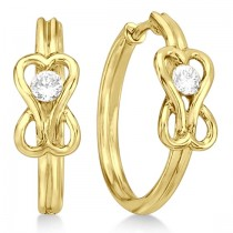 Diamond Love Knot Hoop Earrings in 14k Yellow Gold (0.25ct)