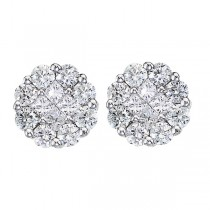 Diamond Clusters Flower Stud Earrings in 14k White Gold (1.00 ctw)