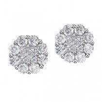 Diamond Clusters Flower Stud Earrings in 14k White Gold (1.50 ctw)|escape