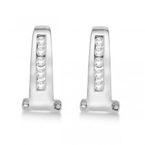 Channel-Set Diamond Huggie Omega Earrings 14k White Gold (0.25ct)