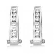 Channel-Set Diamond Huggie Omega Earrings 14k White Gold (0.50ct)