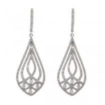 Diamond Accented Fashion Teardrop Earrings 14k White Gold (1.62ct)