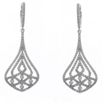 Diamond Accented Fashion Bell Drop Earrings 14k White Gold (1.41ct)
