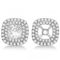 Square Shaped Diamond Double Halo Earring Jackets 14k White Gold .45ct