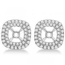 Square Shaped Diamond Double Halo Earring Jackets