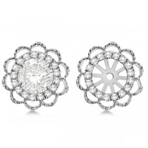 Diamond Halo Flower Earring Jackets 14k White Gold 1.00ct