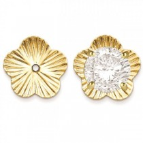 Flower Fancy Earring Jackets in Plain Metal 14k Yellow Gold
