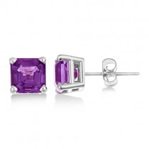 Asscher Cut Amethyst Basket Stud Earrings 14k White Gold (2.10ct)