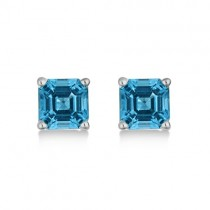 Asscher Cut Blue Topaz Basket Stud Earrings 14k White Gold (2.70ct)|escape