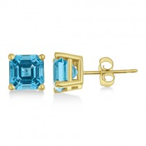Asscher Cut Blue Topaz Basket Stud Earrings 14k Yellow Gold (2.70ct)