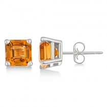 Asscher Cut Citrine Basket Stud Earrings 14k White Gold (2.10ct)