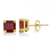 Asscher Cut Garnet Basket Stud Earrings 14k Yellow Gold (2.70ct)