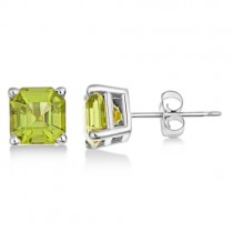 Asscher Cut Peridot Basket Stud Earrings 14k White Gold (2.50ct)