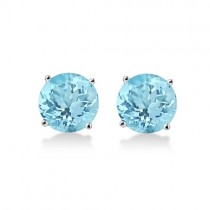 Antique Art Deco Aquamarine Stud Earrings 14k White Gold (2.50ct)
