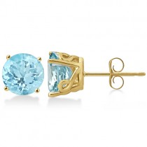 Antique Art Deco Aquamarine Stud Earrings 14k Yellow Gold (2.50ct)