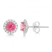 Halo Pink Tourmaline & Diamond Stud Earrings 14k White Gold (0.65ct)